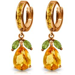 Genuine 14.3 ctw Peridot & Citrine Earrings Jewelry 14KT Rose Gold - REF-82K9V