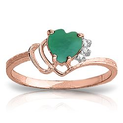 Genuine 1.02 ctw Emerald & Diamond Ring Jewelry 14KT Rose Gold - REF-36K9V