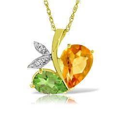 Genuine 4.06 ctw Citrine, Peridot & Diamond Necklace Jewelry 14KT Yellow Gold - REF-59M2T