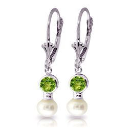 Genuine 5.2 ctw Peridot & Pearl Earrings Jewelry 14KT White Gold - REF-35N9R