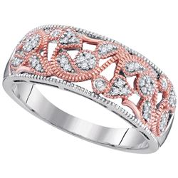 0.10 CTW Diamond Filigree Ring 10KT Two-tone Gold - REF-22Y4X