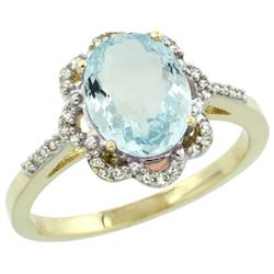 Natural 1.51 ctw Aquamarine & Diamond Engagement Ring 10K Yellow Gold - REF-35V9F