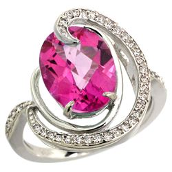 Natural 6.53 ctw pink-topaz & Diamond Engagement Ring 14K White Gold - REF-72G8M