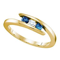 0.25 CTW Blue Color Diamond 3-stone Ring 10KT Yellow Gold - REF-19M4H