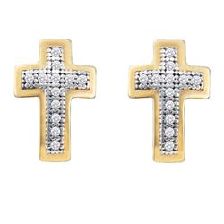 0.10 CTW Diamond Small Cross Screwback Earrings 10KT Yellow Gold - REF-12F2N