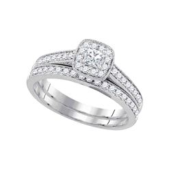 0.50 CTW Princess Diamond Wedding Bridal Ring 14k White Gold - REF-67M4H