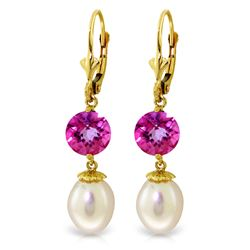 Genuine 11.10 ctw Pink Topaz Earrings Jewelry 14KT Yellow Gold - REF-28R3P