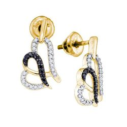 0.30 CTW Black Color Diamond Heart Stud Earrings 10KT Yellow Gold - REF-26F9N
