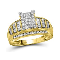 1.01 CTW Princess Diamond Cluster Bridal Engagement Ring 14KT Yellow Gold - REF-75M2H