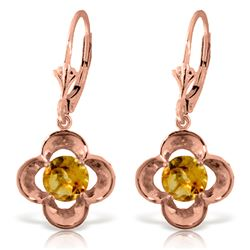 Genuine 1.10 ctw Citrine Earrings Jewelry 14KT Rose Gold - REF-37Z7N