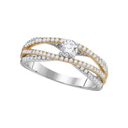 0.75 CTW Diamond 2-tone Bridal Wedding Engagement Ring 14KT White Gold - REF-89Y9X