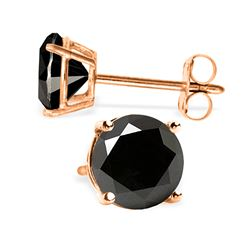 Genuine 2.0 ctw Black Diamond Earrings Jewelry 14KT Rose Gold - REF-84V8W