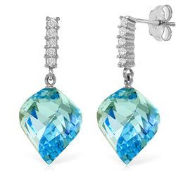 Genuine 27.95 ctw Blue Topaz & Diamond Earrings Jewelry 14KT White Gold - REF-87M5T