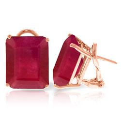 Genuine 15 ctw Ruby Earrings Jewelry 14KT Rose Gold - REF-117A6K