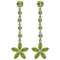 Genuine 4.8 ctw Peridot Earrings Jewelry 14KT White Gold - REF-56T8A