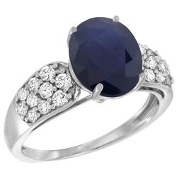 Natural 2.75 ctw blue-sapphire & Diamond Engagement Ring 14K White Gold - REF-118G9M