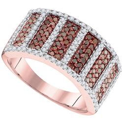 0.90 CTW Red Color Diamond Symmetrical Ring 10KT Rose Gold - REF-57W2K