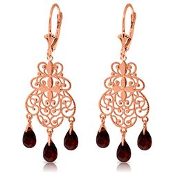 Genuine 3.75 ctw Garnet Earrings Jewelry 14KT Rose Gold - REF-58F3Z