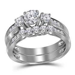 1 CTW 3-stone Diamond Wedding Bridal Ring 14k White Gold - REF-169Y4X