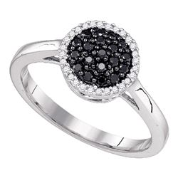 0.25 CTW Black Color Diamond Halo Cluster Ring 10KT White Gold - REF-19M4H