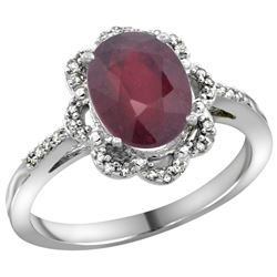 Natural 2.24 ctw Ruby & Diamond Engagement Ring 14K White Gold - REF-40Y6X
