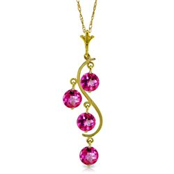 Genuine 2.25 ctw Pink Topaz Necklace Jewelry 14KT Yellow Gold - REF-30F9Z