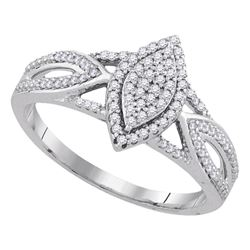0.25 CTW Diamond Cluster Bridal Wedding Engagement Ring 10KT White Gold - REF-24W2K