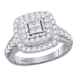1 CTW Princess Diamond Square Cluster Bridal Engagement Ring 14KT White Gold - REF-104N9F