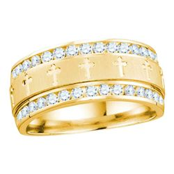 1 CTW Mens Diamond Grecco Cross Wedding Anniversary Ring 14k Yellow Gold - REF-134M9H