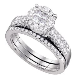 1 CTW Princess Diamond Soleil Bridal Engagement Ring 14KT White Gold - REF-134W9K