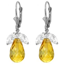 Genuine 14.4 ctw White Topaz & Citrine Earrings Jewelry 14KT White Gold - REF-46K7V