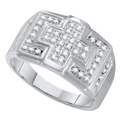 0.33 CTW Mens Diamond Square Cross Cluster Ring 10KT White Gold - REF-37K5W