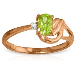 Genuine 0.46 ctw Peridot & Diamond Ring Jewelry 14KT Rose Gold - REF-30F6Z