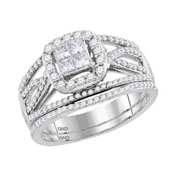 1 CTW Princess Diamond Bridal Engagement Ring 14KT White Gold - REF-104X9Y