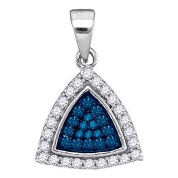 0.30 CTW Blue Color Diamond Triangle Cluster Pendant 10KT White Gold - REF-14K9W