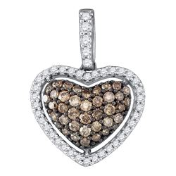 0.45 CTW Cognac-brown Color Diamond Heart Love Pendant 10KT White Gold - REF-26M9H