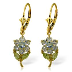 Genuine 2.12 ctw Aquamarine & Pearl Earrings Jewelry 14KT Yellow Gold - REF-47A4K