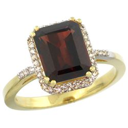 Natural 2.63 ctw Garnet & Diamond Engagement Ring 14K Yellow Gold - REF-43N9G