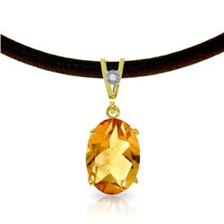 Genuine 7.56 ctw Citrine & Diamond Necklace Jewelry 14KT Yellow Gold - REF-35N5R