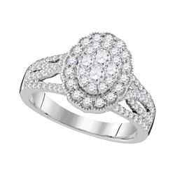 1.02 CTW Diamond Oval Halo Cluster Bridal Engagement Ring 10KT White Gold - REF-119M9H