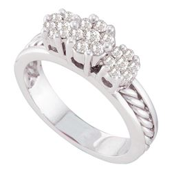 0.50 CTW Diamond Triple Flower Cluster Rope Ring 14KT White Gold - REF-71M9H