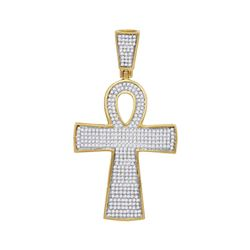 0.71 CTW Mens Diamond Ankh Cross Charm Pendant 10KT Yellow Gold - REF-52M4H