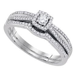 0.33 CTW Diamond Halo Bridal Engagement Ring 10KT White Gold - REF-37K5W