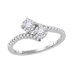 0.33 CTW Diamond 2-stone Bridal Wedding Engagement Ring 14KT White Gold - REF-43W4K