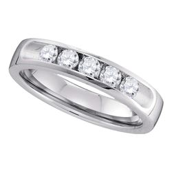 0.50 CTW Diamond Single Row Wedding Ring 14KT White Gold - REF-89K9W