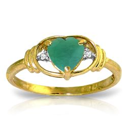 Genuine 1.01 ctw Emerald & Diamond Ring Jewelry 14KT Yellow Gold - REF-49W2Y