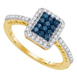 0.45 CTW Blue Color Diamond Rectangle Cluster Ring 10KT Yellow Gold - REF-24K2W