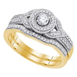 0.38 CTW Diamond Bridal Wedding Engagement Ring 10KT Yellow Gold - REF-52K4W
