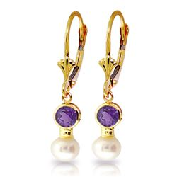 Genuine 5.2 ctw Amethyst & Pearl Earrings Jewelry 14KT Yellow Gold - REF-35T9A