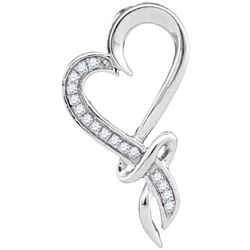 0.10 CTW Diamond Spiral Heart Outline Pendant 10KT White Gold - REF-12X8Y